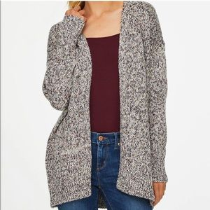LOFT Outlet Gray Marled Open Cardigan Size XL